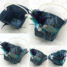 ***Ready To ship   This is a gorgeous peacock wedding program basket. Its been crafted utilizing quality materials, such as a beautiful silk fabric,