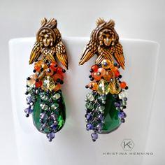 Bohemian gypsy statement earrings - ombre stones, brass & silver - Kristina Henning