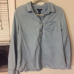 GAP soft Jean blouse In good condition GAP Tops Button Down Shirts