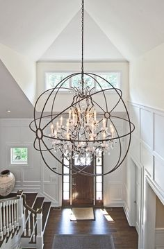 Foyer Lighting Ideas. Light is from Restoration Hardware Foucault. #Foyer #FoyerLighting   EB Designs