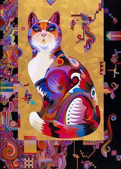Abstract Cat Painting Originals - Pythagorus Cat by Bob Coonts Illustration Photo, Illustrations, I Love Cats, Crazy Cats, Frida Art, Cat Quilt, Cat Colors, Colours, Cat Drawing