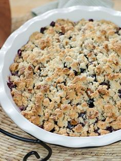 Paleo Peach Blueberry Crisp - completely dairy-free, gluten-free, grain-free and refined sugar free. http://cookeatpaleo.com/paleo-peach-blueberry-crisp/
