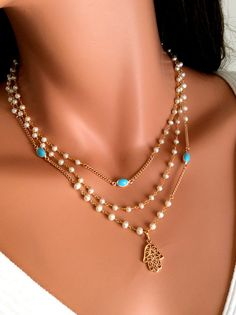 Hamsa Necklace Freshwater Pearls Turquiose Goldfilled Necklace Layered Rosary Inspired Jewish Hand Necklace
