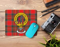 Rubber mousemat with MacBean clan crest and tartan - only from ScotClans
