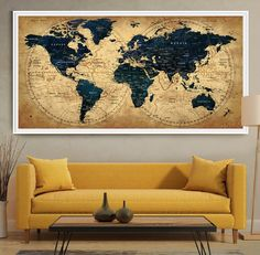 Decorative extra large world map push pin travel by FineArtCenter