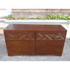 dressers hand carved from solid, plantation grown mahogany wood or mango wood. Solid Wood Furniture, Hope Chest, Bedroom Furniture, Storage Chest, Hand Carved, Dresser, Palm, Cabinet, Handmade