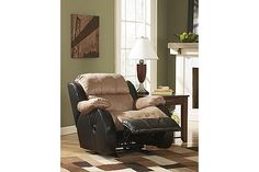 """The Presley Recliner from Ashley Furniture HomeStore (AFHS.com). The two-toned contemporary design along with the plush comfort of the """"Presley-Cocoa"""" upholstery collection creates a versatile and stylish collection that is the perfect choice for any living room decor."""