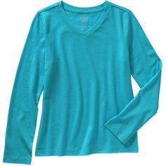 Faded Glory Girls' Long Sleeve V Neck Tee, Size: 6/6X, Blue