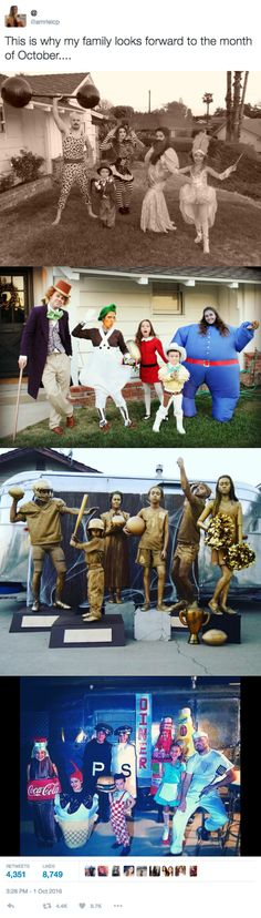 This Creative Family's Group Halloween Costumes are Actual Family Goals This Creative Family's Group Halloween Costumes are Actual Family Goals 3 DIY Group Halloween Costumes: Willy Wonka & The Chocolate Factory, Sports Trophies, and Circus Family Family Halloween Costumes, Halloween 2017, Halloween Cosplay, Holidays Halloween, Halloween Diy, Happy Halloween, Zombie Costumes, Circus Family Costume, Funny Family Costumes