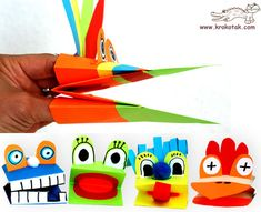 marionetas de Krokotak para crear en casa con cartulinas