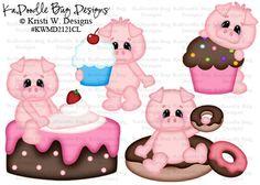 Piggin' Out Sweeties Original Artwork by Kristi W. Designs www.kadoodlebugdesigns.com Baby Shower Templates, Hedgehogs, Paper Piecing, Scrapbooking Ideas, Pigs, Separate, Free Printables, Original Artwork, Crafting