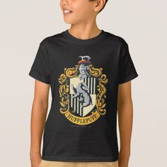 Shop Hufflepuff Crest T-Shirt created by harrypotter. Personalize it with photos & text or purchase as is! Harry Potter Shirts, College T Shirts, Shirt Shop, Colorful Shirts, Fitness Models, Casual, Sleeves, Mens Tops