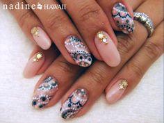 pink, polka dot, and paisley nail art
