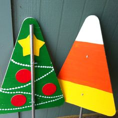Yard decorations for Halloween and Christmas (change bolts to change season).