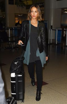 Jessica Alba wearing Anine Bing Quilted Leather Jacket, Bric's Bellagio Black Tie Spinner Trunk Suitcase and Anine Bing Bianca Boots