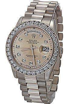 Rolex Mens President White Gold 118239 3.00ct Diamond Bezel / Silver Dial