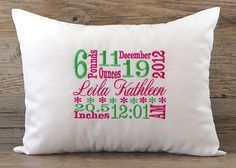 Monogrammed Pillow Baby Girl Birth Announcement Decorative Throw Pillow Cover Personalized Nursery Decor 12 x 16 Baby Gift First Birthday