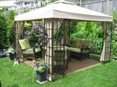 A gazebo is normally an open-sided, free-standing structure which has a roof. It is possible to select a larger gazebo for those who have a large and spacious garden. The canvas gazebo provides you an attractive tent covering for your… Continue Reading → Backyard Ideas For Small Yards, Small Backyard Gardens, Small Backyard Landscaping, Small Patio, Landscaping Tips, Back Yard Gazebo Ideas, Modern Backyard, Cheap Backyard Ideas, Cheap Gazebo
