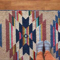 Stacie Schaat's Locker Hooked Runner -  7 foot long rug.