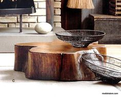Roost Acacia Slice Coffee Table & Stump Stool - Simply stumptuous! Our heavy-weight tables and stools are cut from naturally aged acacia wood. Each piece has softly rounded edges; butterfly joints on the table are carved to bridge larger cracks in the wood. Stained to a warm walnut tone. – Modish Store