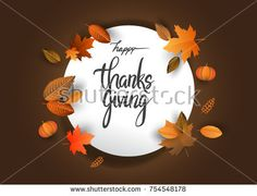 Happy Thanksgiving typography poster isolated with leaves and pumpkins for Thanksgiving postcard, icon or badge. Vector calligraphy lettering holiday quote