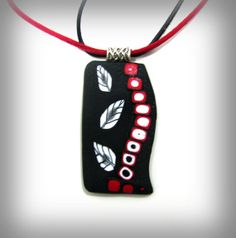 Polymer Graphics  Polymer Clay Pendant Necklace with by NataPi, $14.00