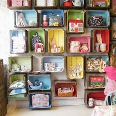 kids room - old crates to create shelving. Love it!