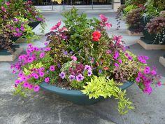 Container Garden Design Floral Container Home Design 2017 Small Backyard Gardens, Unique Gardens, Beautiful Gardens, Diy Garden, Garden Planters, Garden Landscaping, Potted Garden, Landscaping Ideas, Backyard Ideas