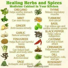 Natural remedies. Healing herbs and spices. Medicine cabinet in the kitchen.
