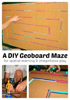 A DIY Geoboard Maze for Math Learning and Imagintive Play - from Fun-A-Day! Toddler Preschool, Preschool Activities, Preschool Class, Kindergarten, Fun Learning, Teaching Kids, Homeschool Math, Homeschooling, Geo Board