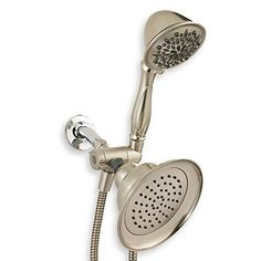 Get a multifaceted shower experience with this combo hand shower/shower head. The three-way diverter lets you operate the hand shower, shower head or both at the same time.