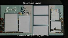 Craft With Julie. Swan Lake Paper Packet. Scrapbooking Layout. Designed by Denise Andersen Turley.