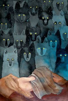 "In the Company of Wolves 9x12"" art print. $24.00, via Etsy. ""Their eyes reflected the light from the kitchen and shone like a hundred candles."" - Angela Carter"