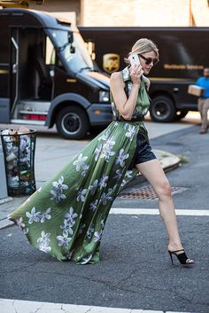 Spotted: Dress Over Pants Look Fashion, Spring Fashion, Womens Fashion, Dress Over Pants, Mode Inspiration, Fashion Inspiration, Look Chic, Floral Maxi Dress, Street Chic