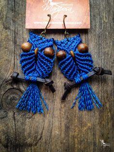 Macrame owl earrings on perch - Custom order - boho bohemian hippie chic gypsy woodland elf micromacrame micro macrame