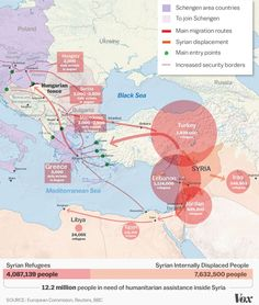 The Syrian refugee crisis, explained in one map - Vox Syria Before And After, Schengen Area, Human Geography, Refugee Crisis, Syrian Refugees, Asian History, Learning Spaces, Thing 1, Syria