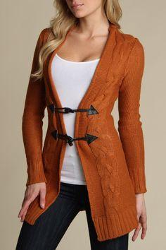 Yoki Toggle Closure Sweater In Rust