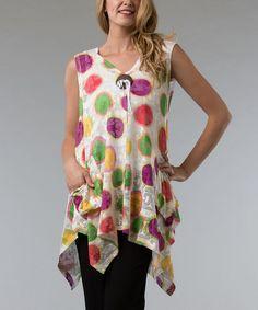 Love this Vasna White & Purple Dot Handkerchief Tunic by Vasna on #zulily! #zulilyfinds