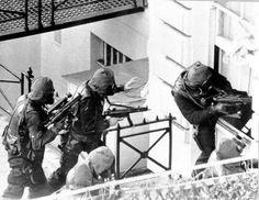 SAS men breach the Iranian Embassy during Operation Nimrod, May 6th, 1980.