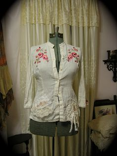 Shabby Bohemian Shirt tattered frayed prairie blouse by Dede ofTatteredDelicates