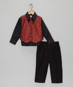 ONLY $20!!! Combining a crisp button-up, patterned vest, clip-on tie and pants with an elastic waistband, this sophisticated set turns little men into dapper gents.