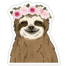 Floral Crown Sloth Art Print by ktscanvases - X-Small Cute Laptop Stickers, Cool Stickers, Chihiro Cosplay, White Floral Crowns, Homemade Stickers, Christmas Aesthetic Wallpaper, Tumblr Stickers, Aesthetic Stickers, Spirit Animal