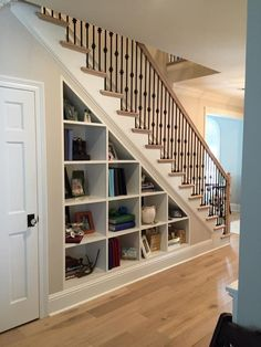 30 Catchy Remodel Storage Stairs Design Ideas To Try Basement Stairs Catchy design ideas Remodel Stairs storage Shelves Under Stairs, Stairway Storage, Space Under Stairs, Under Stairs Cupboard, Bookcase Storage, Basement Storage, Basement Stairs, House Stairs, Cupboard Storage