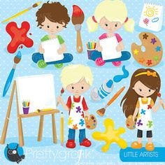 Little artists clipart commercial use fall by Prettygrafikdesign