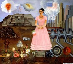 "self portrait on borderline ""Self-Portrait on the Borderline between Mexico and the United States,"" Frida Kahlo, 1932, oil on metal, Private Collection. © 2014 Banco de México Diego Rivera Frida Kahlo Museums Trust, Mexico, D.F. / Artists Rights Society (ARS), New York."