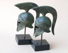 Bronze Metal Helmet Ancient Greek Spartan War by GreekMythos