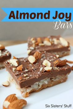 Almond Joy Bars from Six Sisters' Stuff. Nothing beats your favorite chocolate treat made into a delicious bar!