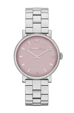 MARC BY MARC JACOBS 'Small Baker' Bracelet Watch, 28mm in Silver / Hazy Rose | Nordstrom