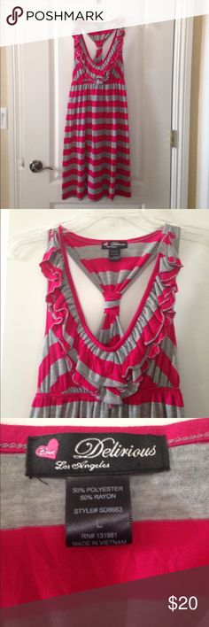 NWOT Pink/ Grey striped dress NWOT striped summer dress (pink and grey) ruffles on top; cascade into a v-neck. Racerback backing. Very cute. Never worn; too big for me. Delirious Dresses Midi