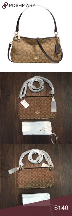 "NWT Coach Signature Charley Crossbody Brand new with tags! Pristine and never worn! I didn't have enough pictures to show the inside but the lining is dark brown, pristine, and has one inside pocket featuring the Coach creed. It's the signature Charley cross body purse, comes with a short strap and a long one. Measures 11""x6"". No flaws. Coach Bags Crossbody Bags"